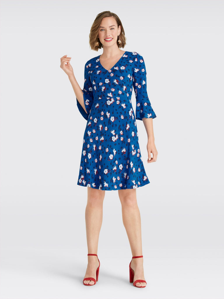 Floral A Line Bell Sleeve Dress