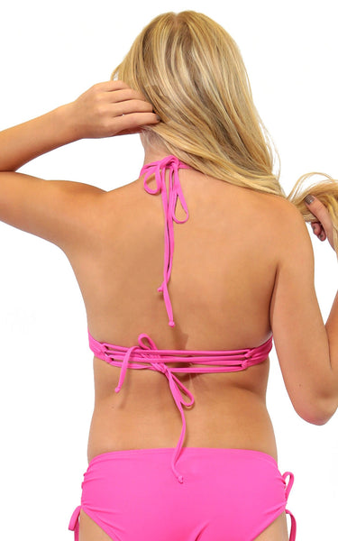 Pink Cross Back High Neck Top