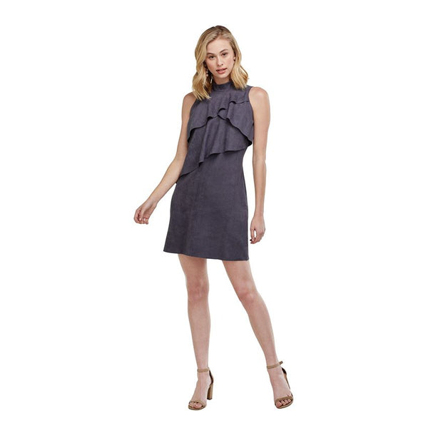 Carley Ruffle Suede Dress