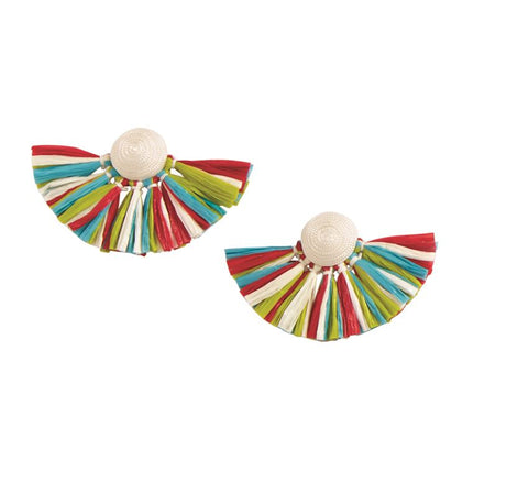 Rafia Fan Earrings