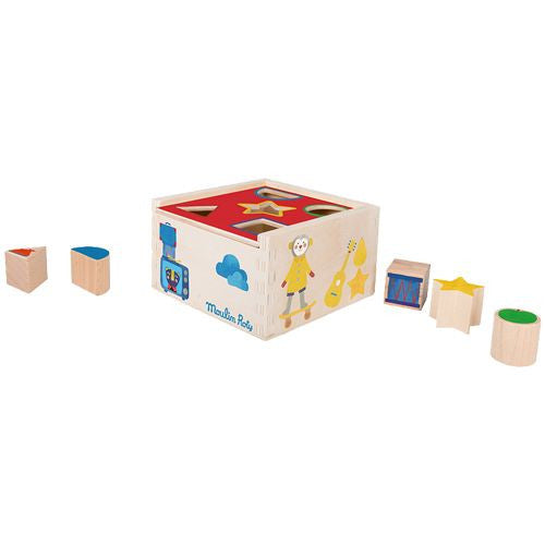 Wooden Shape Sorter with 5 Blocks - Educational Toy