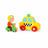 Yellow Cab & Moped Wooden Story Set