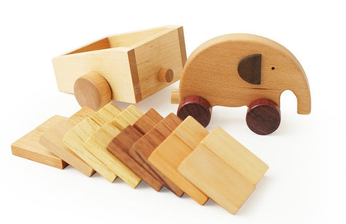 Wooden Elephant Car with Dominos