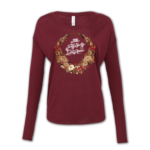 Ladies Maroon  Floral Long Sleeve