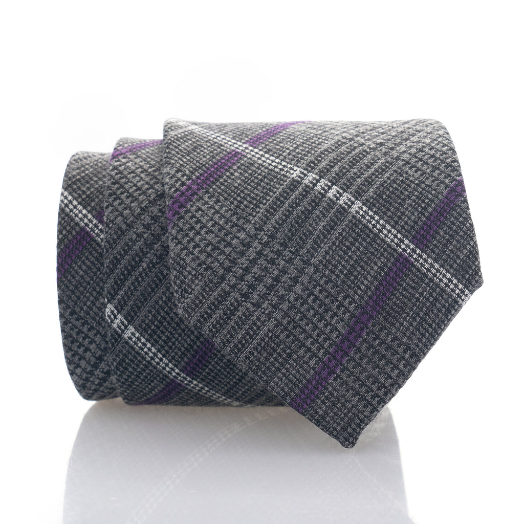 Grey Purple Plaid - Skinny