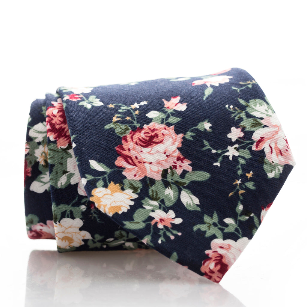 Large Navy Floral - Extra Long - 68""
