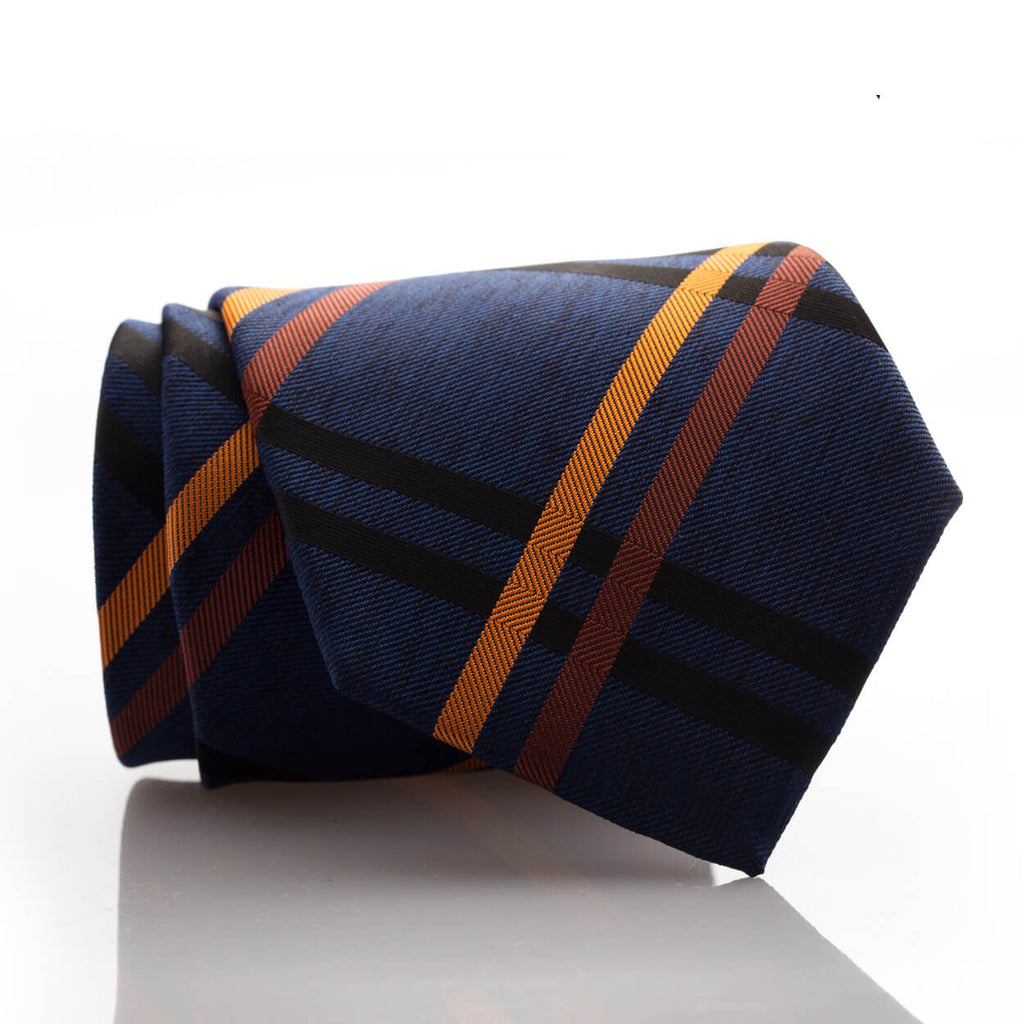 Large Navy/Orange Plaid - Standard