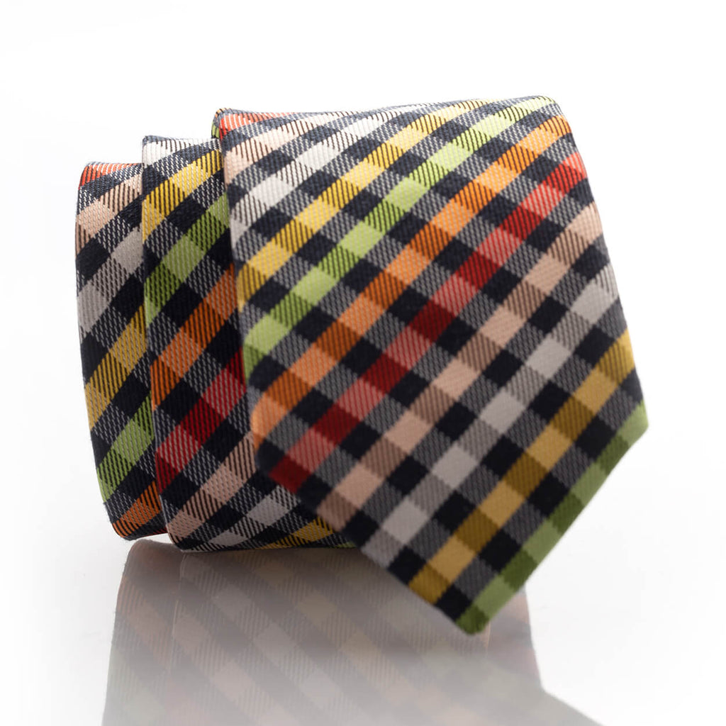Rainbow Plaid Youth Skinny Tie