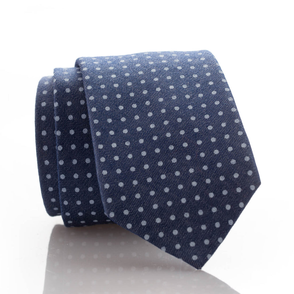 Blue Denim Dot Youth Skinny Tie
