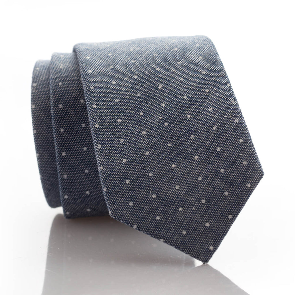 Grey Denim Dot Youth Skinny Tie