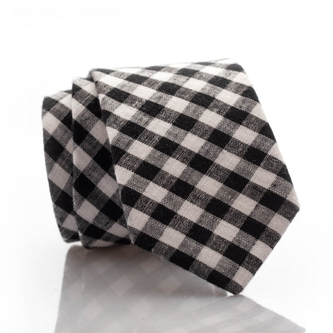 Black Gingham Youth Skinny Tie