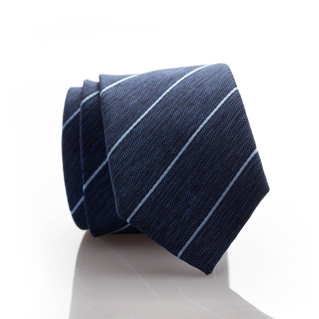 Blue Heather Stripe Youth Skinny Tie