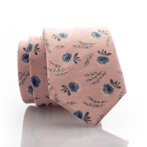 Soft Pink Floral Youth Skinny Tie
