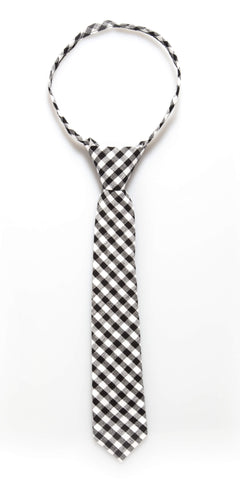 Black Gingham Zipper Tie