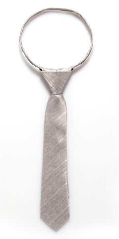 Grey Tweed Zipper Tie