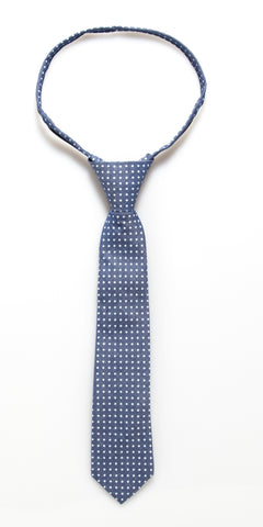 Blue Denim Dot Zipper Tie