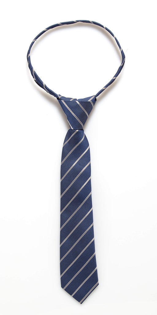 Royal Blue Stripe Zipper Tie