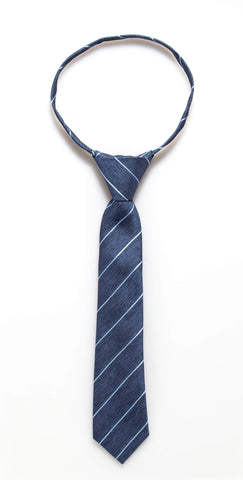 Blue Heather Stripe Zipper Tie