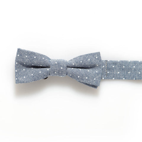 Grey Denim Dot Baby/Kids Bow Tie