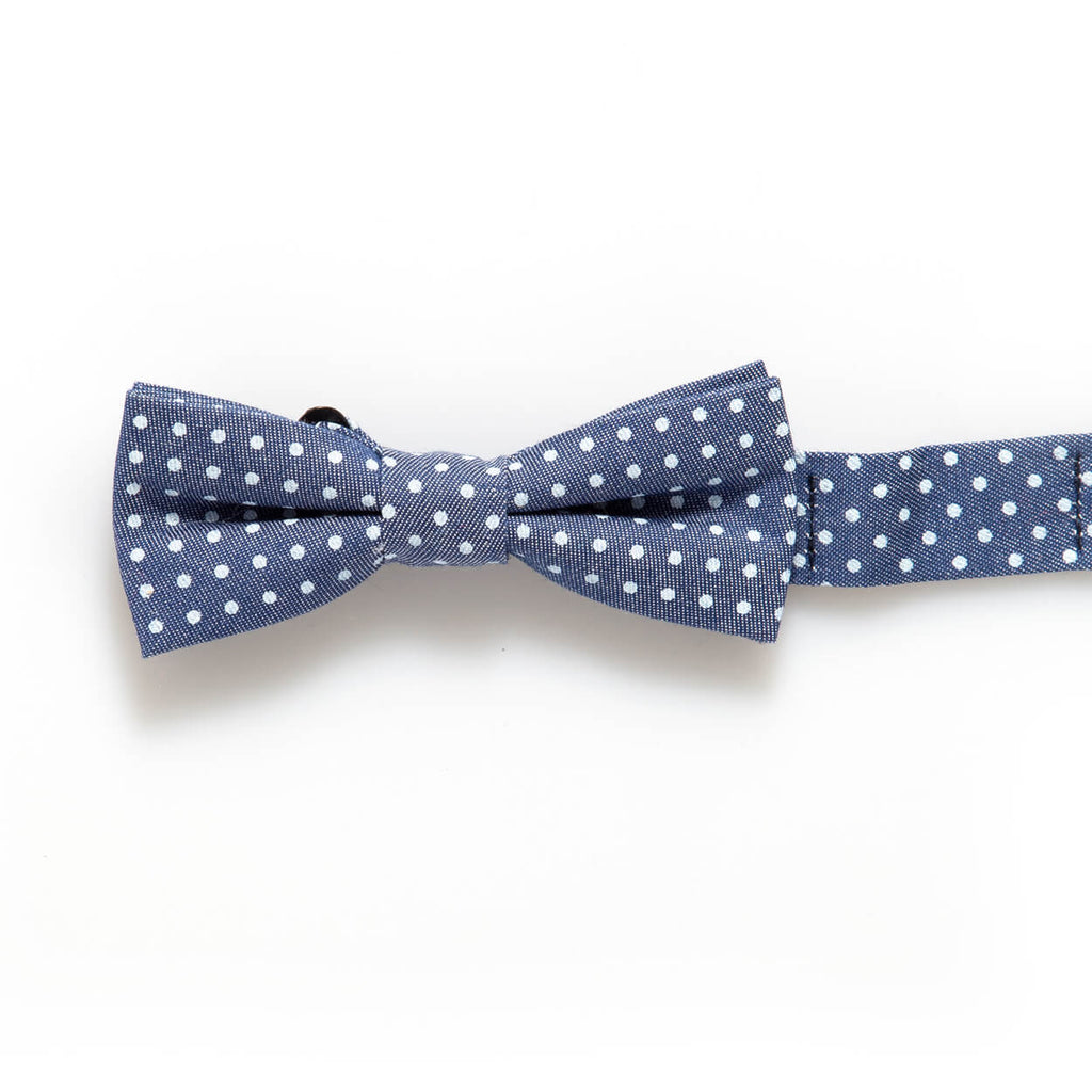 Blue Denim Dot Baby/Kids Bow Tie