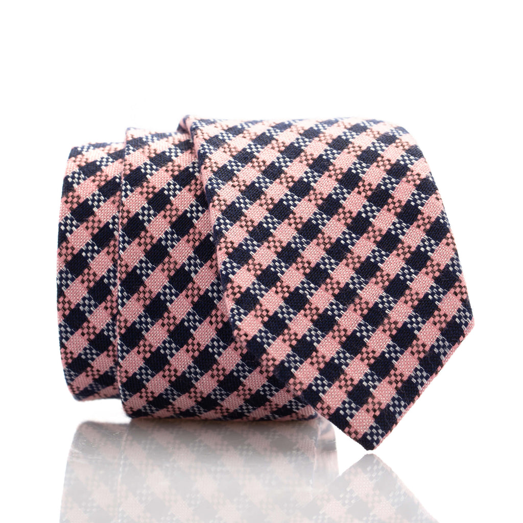 Navy/Pink Check Youth Skinny Tie