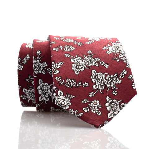 Burgundy Floral Youth Skinny Tie