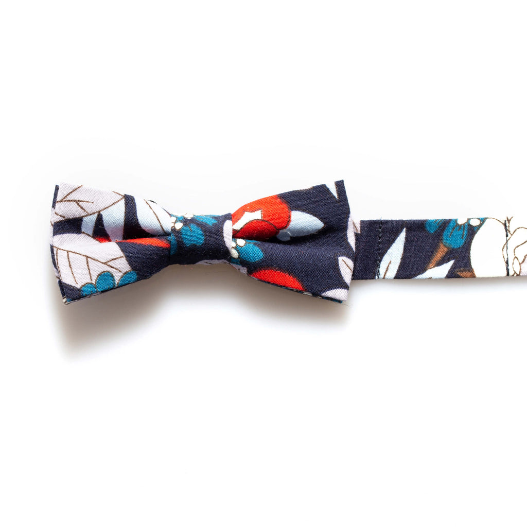 Navy/Red Floral Baby/Kids Bow Tie