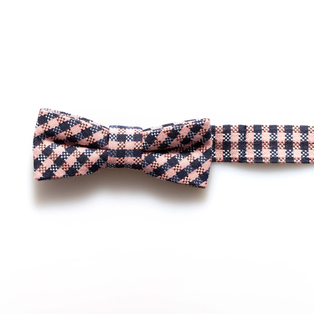 Navy/Pink Check Baby/Kids Bow Tie