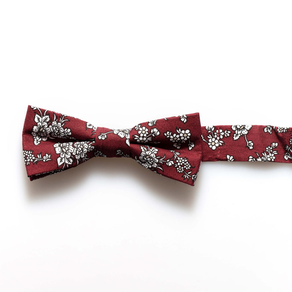 Burgundy Floral Baby/Kids Bow Tie