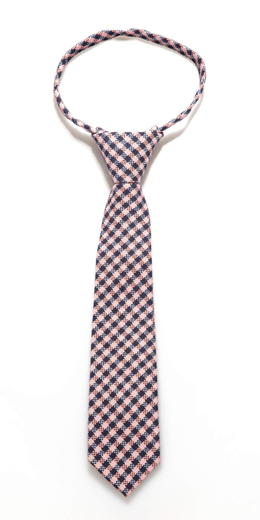 Navy/Pink Check Zipper Tie