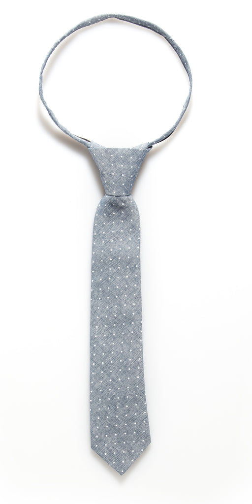 Grey Denim Dot Zipper Tie