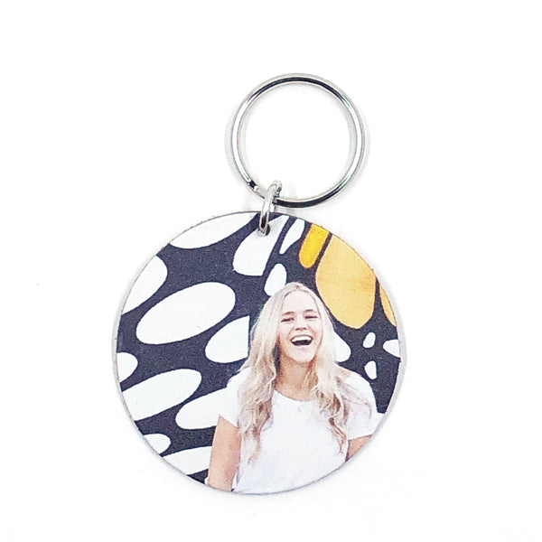"Personalized Photo Leather Keychain - 2"" Circle"