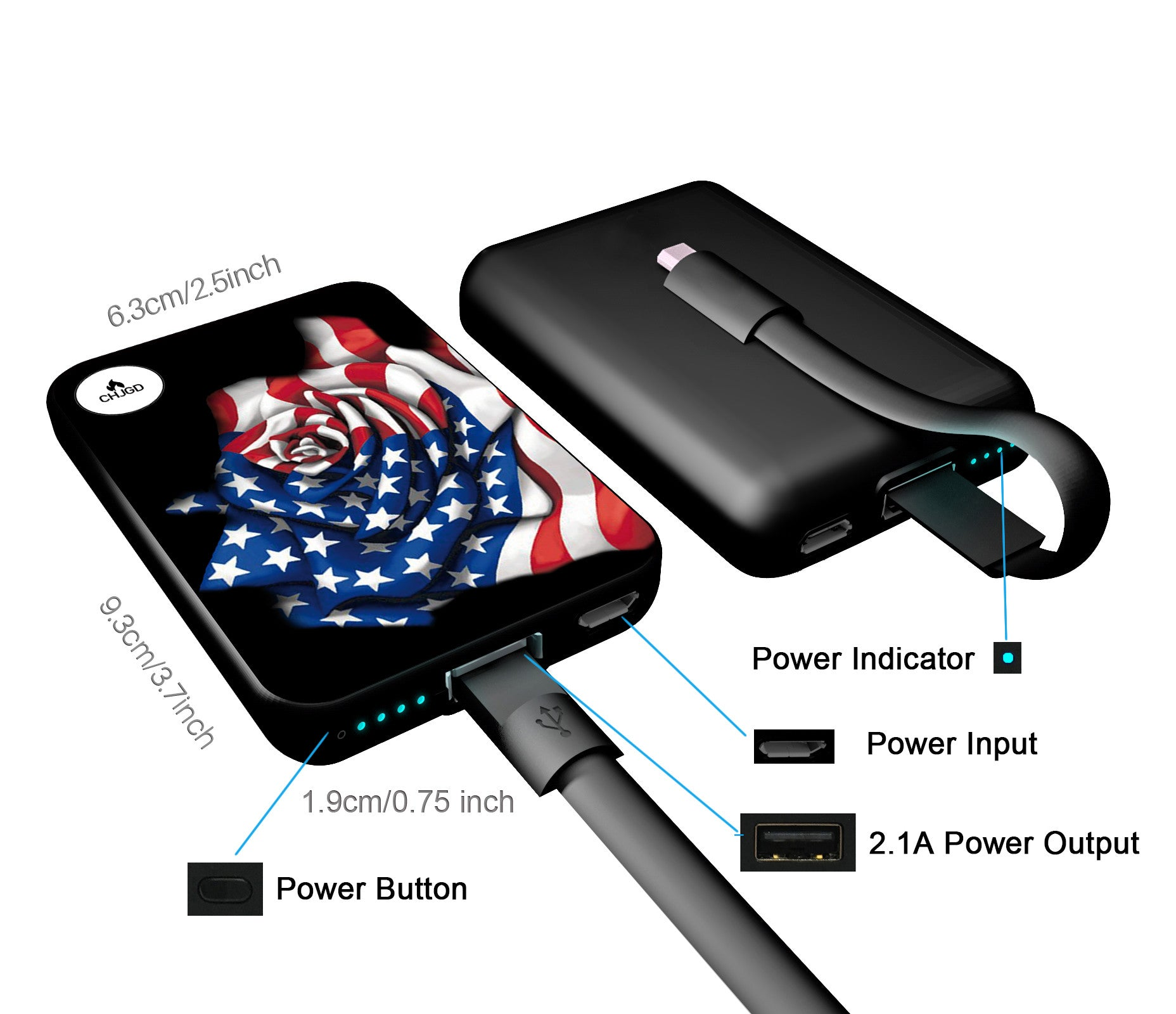 World's Smallest 10,000 mAh Power Bank - CHJGD Ultracompact (American Rose)