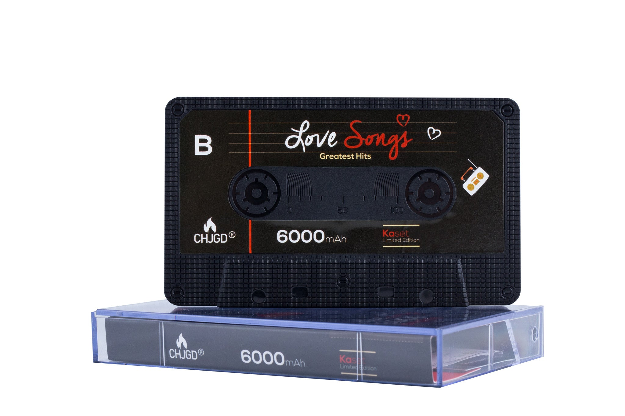 CHJGD® Kaset 6,000 mAh Powerbank - Love Songs - CHARGEDPOWER.COM