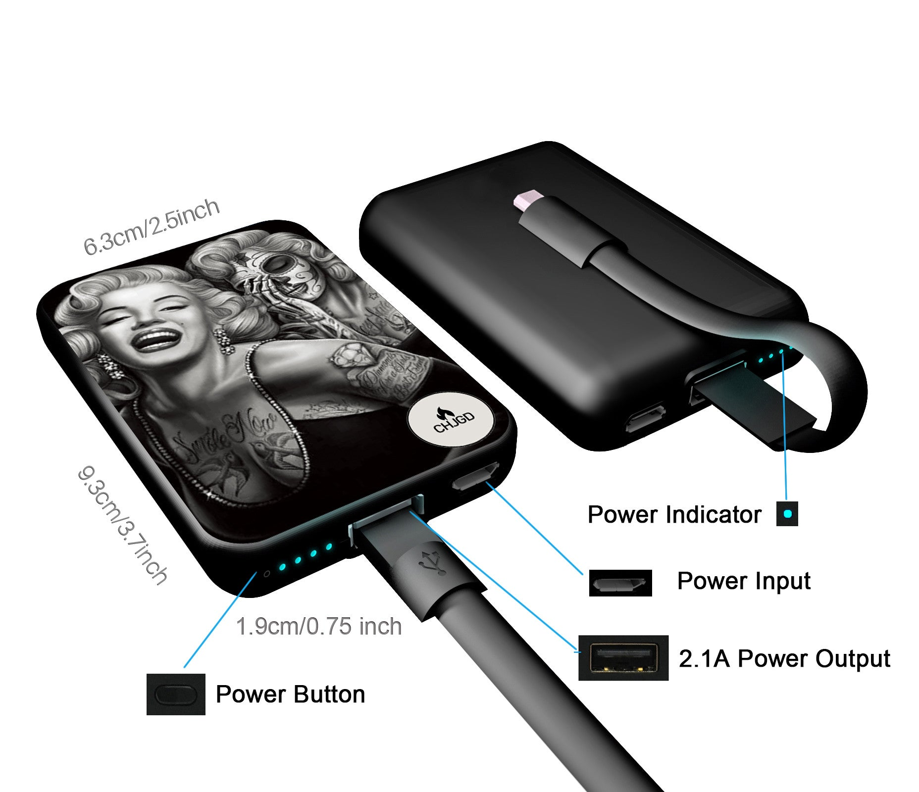 World's Smallest 10,000 mAh Power Bank - CHJGD Ultracompact (Marilyn Monroe) - CHARGEDPOWER.COM
