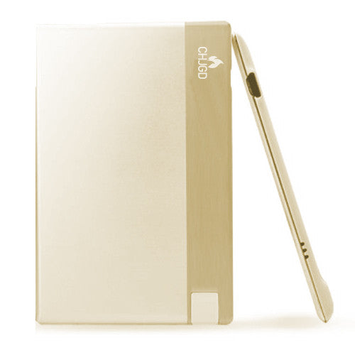 CHJGD® Power 1500 mAh Super Slim Credit Card Size Power Bank (Gold) - CHARGEDPOWER.COM