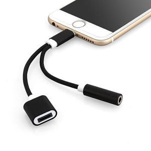 CHJGD® 2-in-1 Lightning to 3.5mm Headphone Jack Adaptor Cable (for iPhone 7) - CHARGEDPOWER.COM