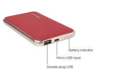 CHJGD® Midas Premium Luxury Li-Polymer Power Bank, 8000mAh / Portable Charger (Rose Madder Red) - CHARGEDPOWER.COM