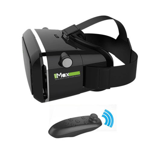 CHJGD VizMax Ultra Premium 3D VR Headset Virtual Reality Box with Bluetooth Remote Control, Adjustable Lens and Strap for all Smartphones (Black) - CHARGEDPOWER.COM