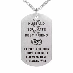 """ To my Husband""  Dog Tag"