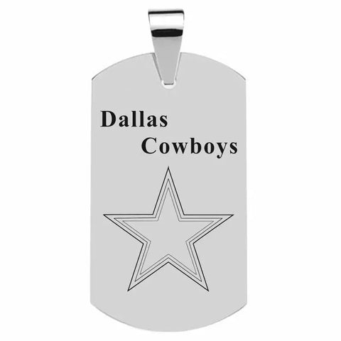 316L Stainless Cowboys Dog tag with NFL team logo