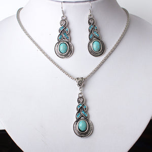 3 Piece set of Tibetan Silver and Turqouise jewelry
