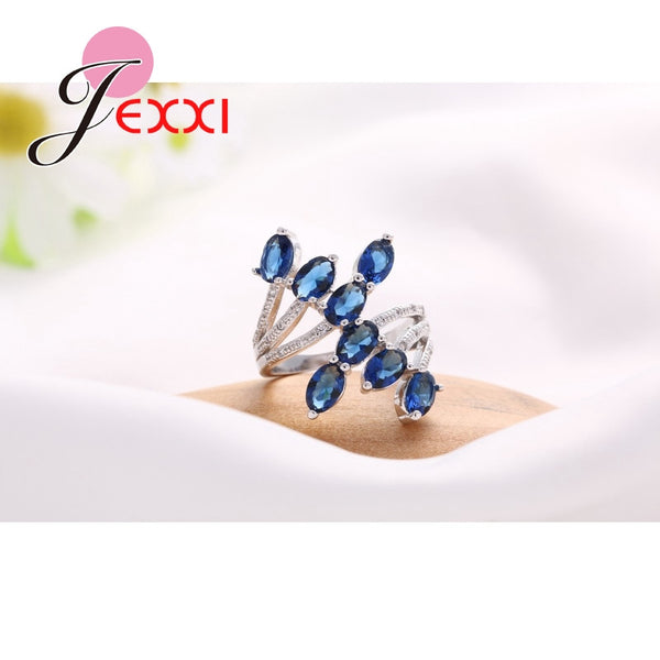 Abstract Sapphire cluster ring