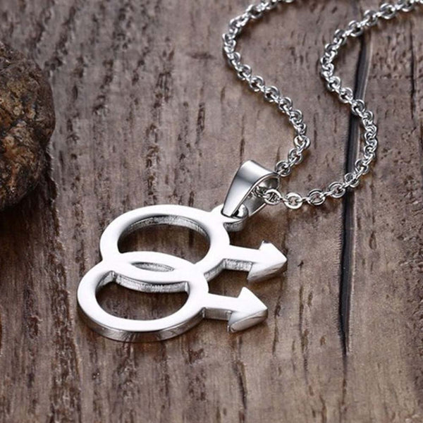 Gay Male Symbol Couples Necklace