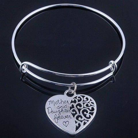 Mother& Daughter Forever silver bangle bracelet