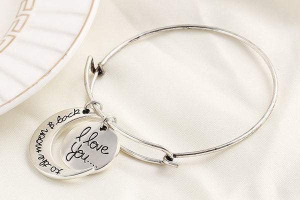 """I LOVE YOU TO THE MOON AND BACK "" BANGLE BRACELET"