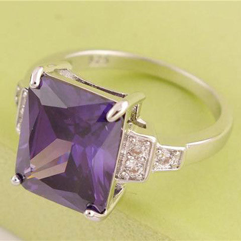 SQUARE PURPLE AMEYTHEST RING WITH QUARTZ ACCENTS