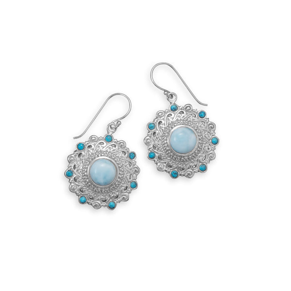 Mermaid Dreams Larimar & Shattuckite Ornate Earrings / virgo-starlight