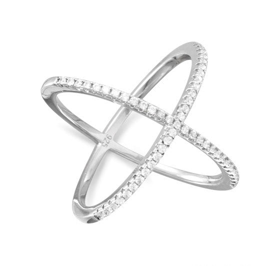 Rhodium Plated Criss Cross 'X' Ring with Signity CZs - Signity CZ Bee Flex Cuff
