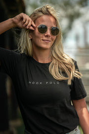 Hook Polo Cotton Tee - Black
